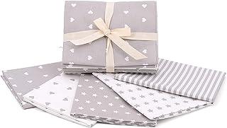 Kit de tela de algodón con fantasías a juego, 5 grandes piezas de 50 x 45 cm, rayas + estrella + corazón a juego, tejido para patchwork, fabricado en Italia, Oeko-Tex