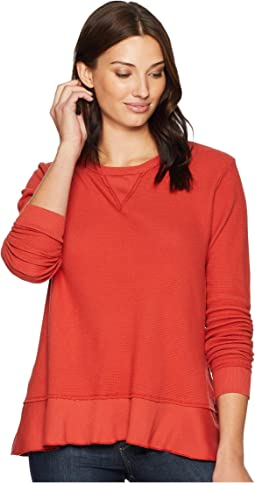 Flatback Thermal Long Sleeve Sweatshirt Tee with Flounce Hem
