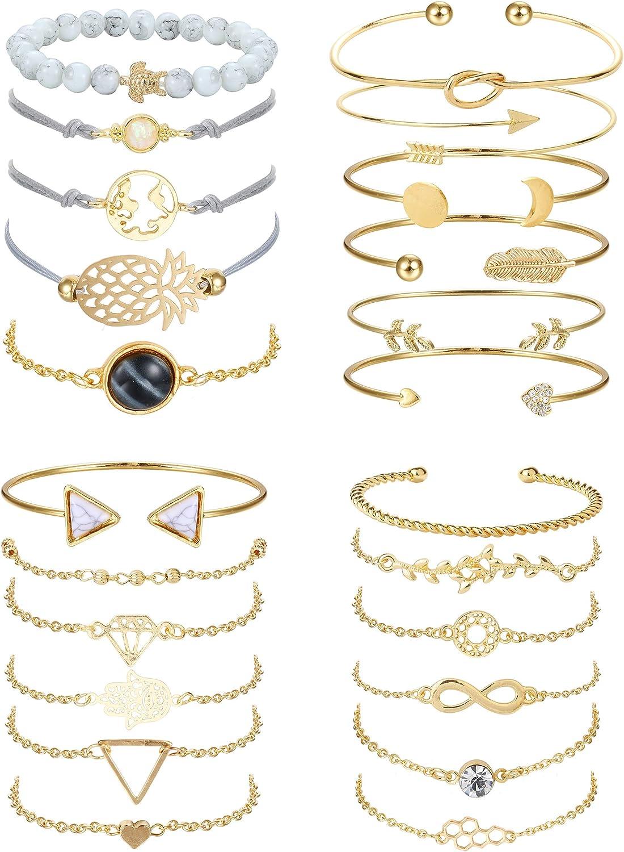 YADOCA 23 Pcs Multiple Layered Stackable Bracelets Set for Women Gold Open Cuff Wrap Bangle Tortoise Pineapple Arrow Knot Heart Bead Bracelets Adjustable Jewelry