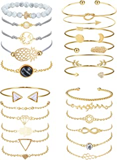 YADOCA 23 Pcs Multiple Layered Stackable Bracelets Set for Women Gold Open Cuff Wrap Bangle Tortoise Pineapple Arrow Knot ...