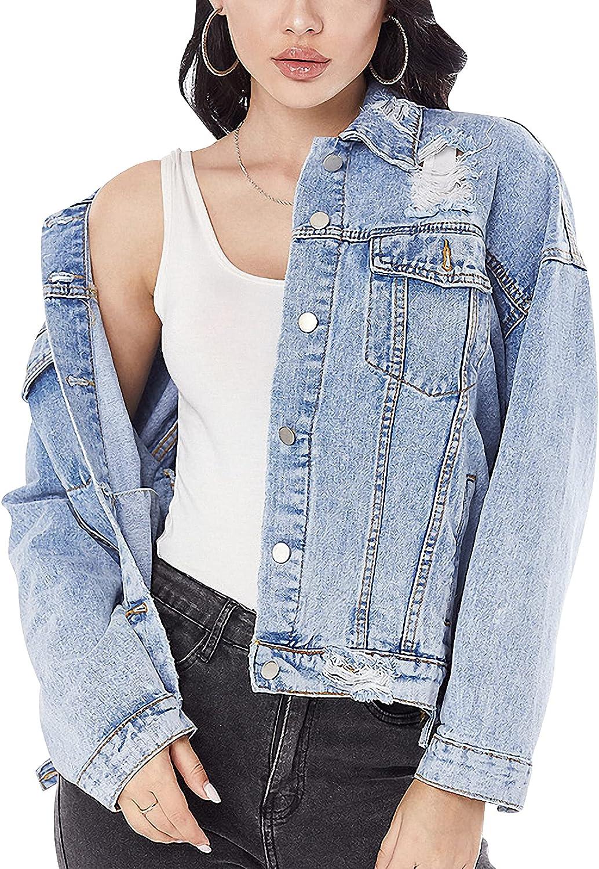 Gihuo Women's Fashion Long Sleeve Hole Button Down Crewneck Denim Jacket