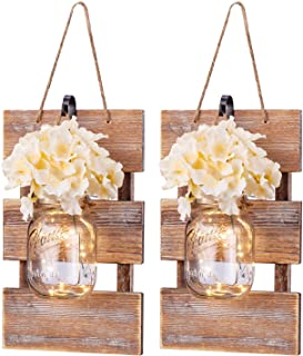 Rustic Wall Sconces- Mason Jar Sconces Handmade Wall Art Hanging Design with 6 Hours..