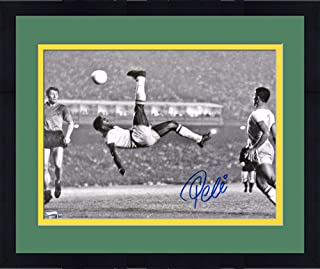 """Framed Pele Brazil F.C. Autographed 11"""" x 14"""" Black & White Bicycle Kick Photograph Signed in Blue - Fanatics Authentic Certified"""