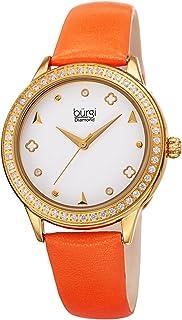 Burgi Womens Quartz Watch, Analog Display and Leather Strap BUR221OR