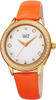 Burgi Crystal Filled Bezel Women's Watch - Unique Shapes and Diamond Hour Markers - Floating Enamel Dial - Round Analog Quartz - BUR221