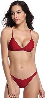 SHEKINI Women Bathing Suits Halter Top Cheeky Swim Bottoms Two Piece Triangle Bikini Swimsuit Set