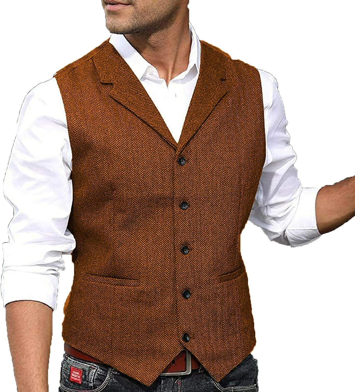 Men's Suit Vest Casual Wool Tweed Retro Herringbone Waistcoat S-3XL