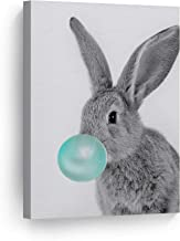 Smile Art Design Bunny Rabbit Animal Bubble Gum Art Teal Blue Canvas Print Black and White Wall Art Home Decoration Pop Art Living Room Kids Room Decor Nursery Ready to Hang Made in The USA 12x8
