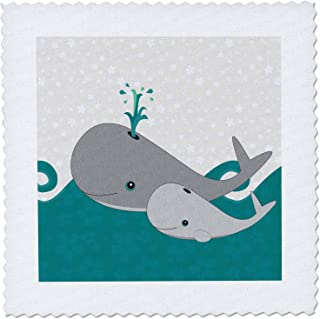 3dRose qs_58599_2 Cute Whale and Baby on The Ocean Quilt Square, 6 by 6-Inch