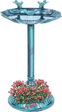 VIVOHOME 26 Inch Height Polyresin Lightweight Antique Outdoor Double Birds Garden Bird Bath with Planter Green