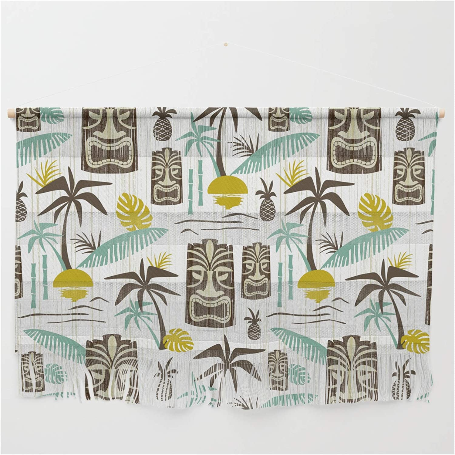 Society6 Island Tiki - Popularity White by Hanging Spring new work one after another on Dutton Heather Wall