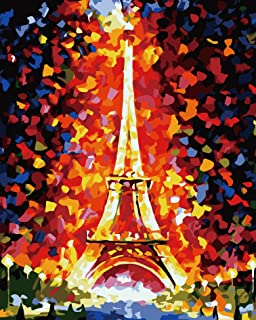 VIKMARI DIY Paint by Numbers Kits for Adults Painting by Numbers for Kids Beginner DIY Oil Painting Kit Eiffel Tower for H...