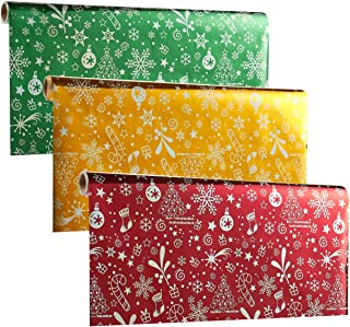 174 x 17 Inches Gift Wrapping Paper Rolls, Pack of 3, Narrow and Long, Christmas Theme Wrapping Paper - Shiny Xmas Gift Wrap, 14.5 Feet x 1.4 Feet, Gold, Burgundy, Green