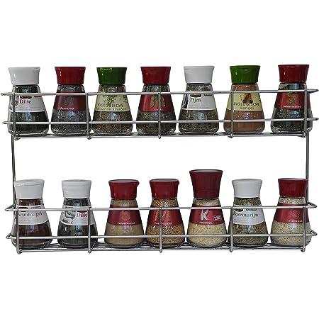 Coninx Étagère à Épices KR2000 | 2 Étages | Porte-Épices Mural ou Fixation Porte Meuble avec vis | pour 16 Pots d'Épices | Rangement de Cuisine