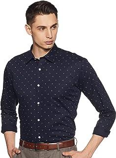 Amazon Brand - Symbol Men's Printed Regular Fit Full Sleeve Cotton Formal Shirt