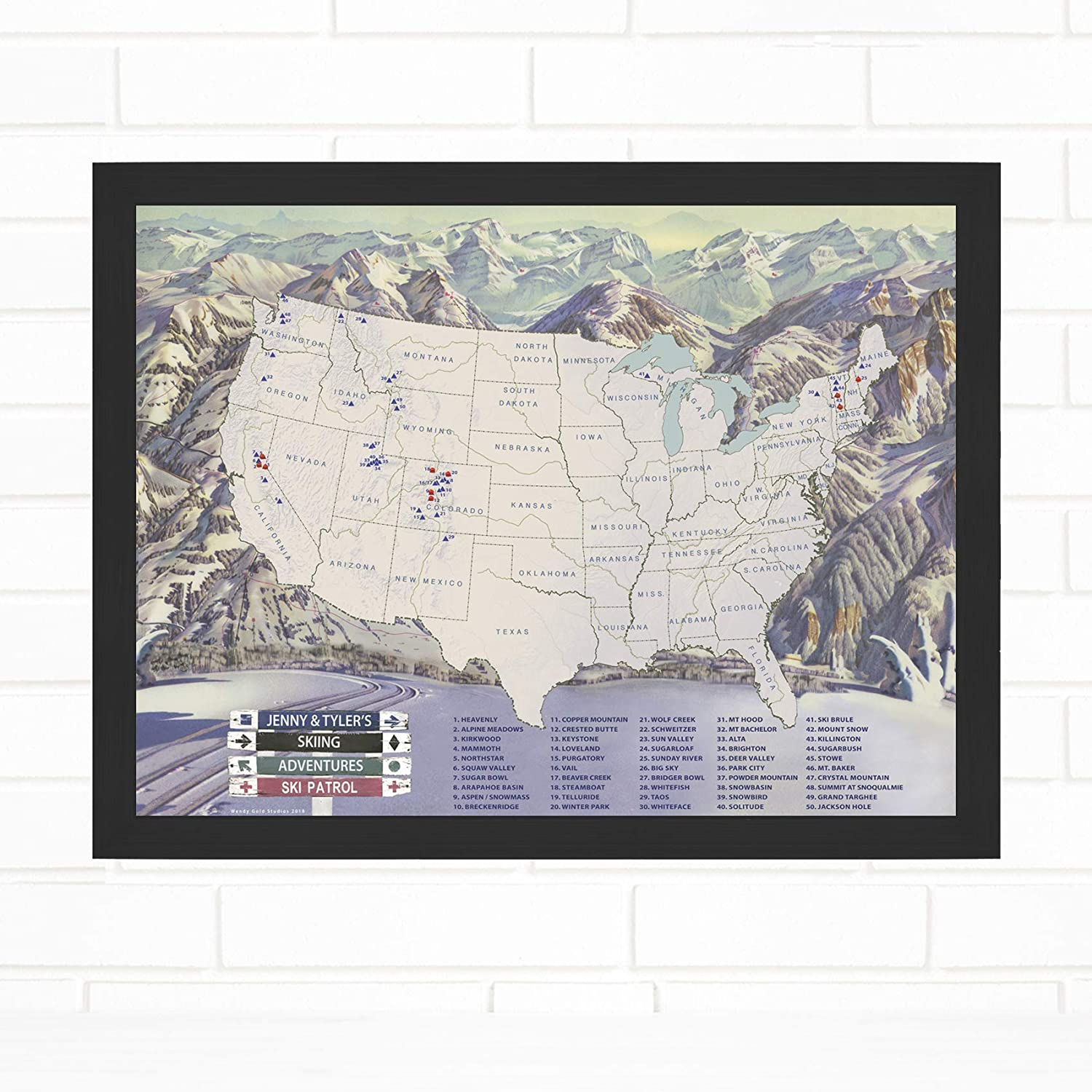 Ski Snowboard Adventures Personalized Travel Award-winning store W Map Luxury with Pins