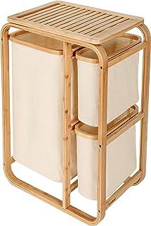 Lumaland Panier à linge en bambou 3 corbeilles – 1 compartiment XL + 2 compartiments compacts – meuble buanderie / salle d...