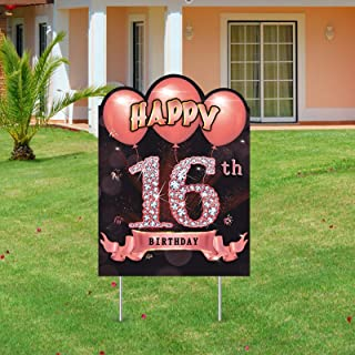 Excelloon 16th Birthday Yard Sign Decorations for Girls, Rose Gold 16 Year Old Birthday Party Lawn Sign Supplies with Stak...