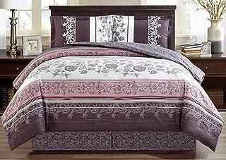 Grand Linen 4-Piece Fine Printed Oversize Comforter Set Reversible Goose Down Alternative Bedding (Double) Full Size (Purple. Grey, Black, White, Floral)