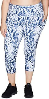 RBX Active Women's Plus Size Athletic Fashion Super Soft Peached Squat Proof Running Yoga Capri Leggings with Pockets