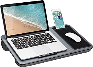 LapGear Home Office Lap Desk with Device Ledge, Mouse Pad, and Phone Holder - Silver Carbon - Fits Up to 15.6 Inch Laptops...