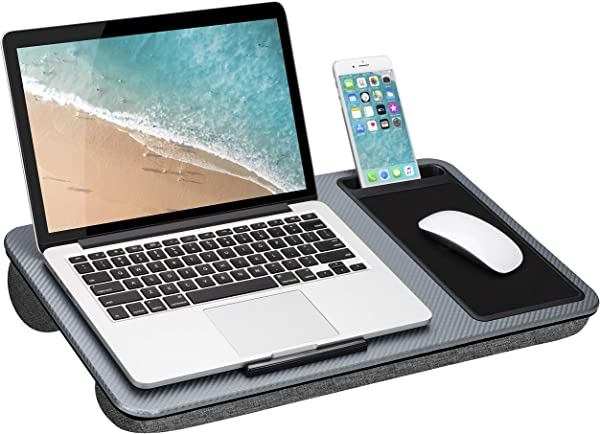 LapGear Home Office Lap Desk With Device Ledge Mouse Pad And Phone Holder Silver Carbon Fits Up To 15 6 Inch Laptops Style No 91585