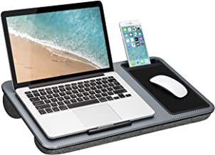 LapGear Home Office Lap Desk with Device Ledge, Mouse Pad, and Phone Holder - Silver Carbon - Fits Up to 15.6 Inch Laptops - Style No. 91585