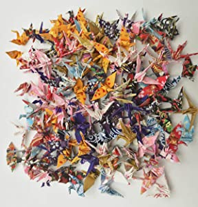 100 Origami Paper Crane Washi Paper Origami Crane Different Patterns Japanese Print Made of 3.81cm 1.5 inches for Wedding Decor Origamipolly