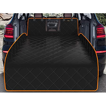 iBuddy SUV Cargo Liner for Dogs Waterproof Pet Cargo Cover with Mesh Window Non Slip Durable Dog Seat Cover Protector with Bumper Flap for Universal and Large Size SUVs…