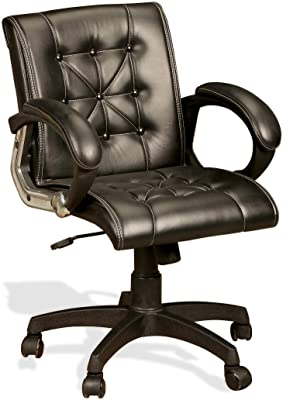 Seat chacha Comfort Chair Series Home Office Revolving Chair with Chrome Finish Armrest and Nylon Base and 50 mm Castors (90 cm X 57 cm X 42 cm, Black)