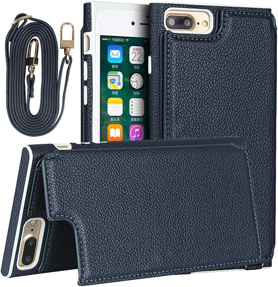 iCoverCase for iPhone 6 Plus/6s Plus/7 Plus/8 Plus Wallet Case with Lanyard, Magnetic Clasp Shockproof Bracket Leather Case with Card Slot and Hidden Mirror (Blue)