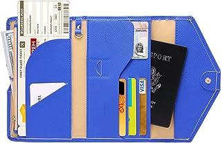 Lazoppent Envelope wallet Passport Holder Travel Wallet Tri-fold Document Organizer Passport Cover Case for Women,Blue