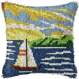 Lanrui Kits de Crochet de loquet Bricolage Jet d'oreiller Couvre-Oreiller Artisanat préimrété Paysage Motif de la Toile de...