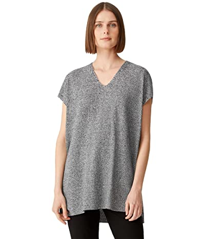 Eileen Fisher Petite V-Neck Tunic in Organic Linen Cotton Twist
