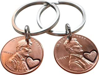 Double Keychain Set 2010 Penny Keychains With Heart Around Year; 9 year Anniversary Gift, Engraved Couples Keychain