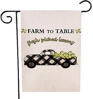 Kissenday Farmhouse Linen Garden Flag, 12.5x18 Inch Vertical Double Sided, Buffalo Check Plaid Lemons Truck Farm to Table ...
