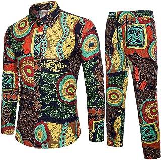 7ca28184cb Fubotevic Mens Cotton Linen 2 Pieces Set African Print Button up Shirt   Pants  Outfits