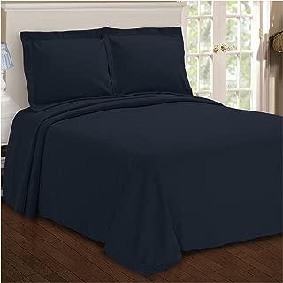 Superior Paisley Jacquard Matelassé 100% Premium Cotton Bedspread with Matching Shams, King, Navy Blue