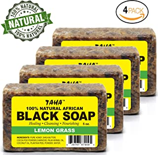 TAHA 100% Natural African Black Soap -Lemon Grass – 5 oz Pack of 4 – Raw Organic Soap for Blemishes, Acne, Dry Scalp – Rich in Vitamins & Antioxidants – Cleanse, Exfoliate & Moisturize