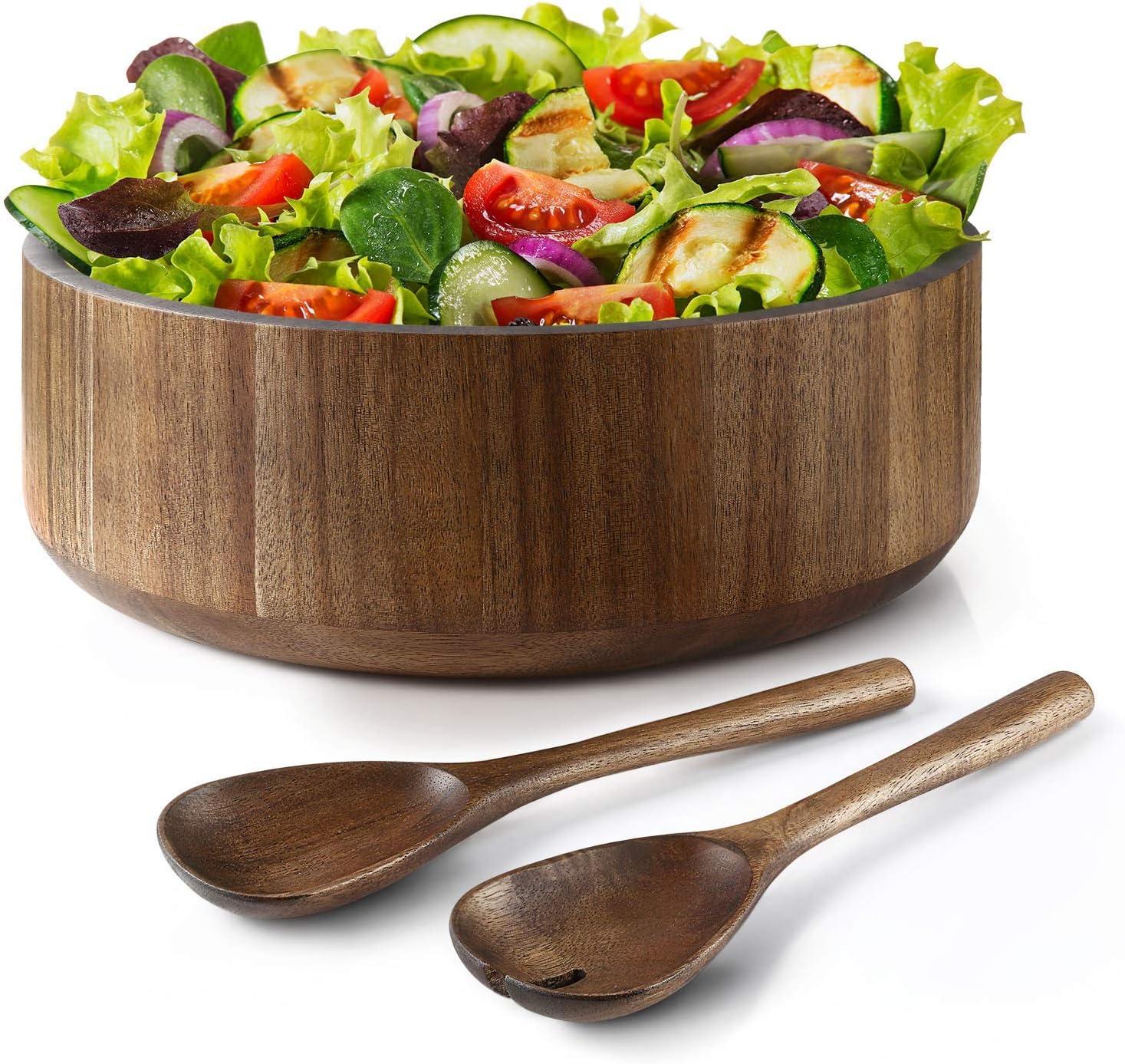 Miusco Natural Acacia Wooden Large Serving online shop Regular store with Bowl Tongs Salad