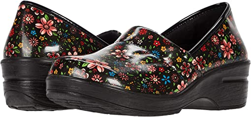 Black Bright Groovy Floral Patent
