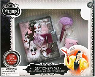 Stationary Set for Girls ~ Deluxe Plush Diary with Lock and Key, Mini Plush Notebook, and Pom Pom Pen Keychain (Disney Villains)
