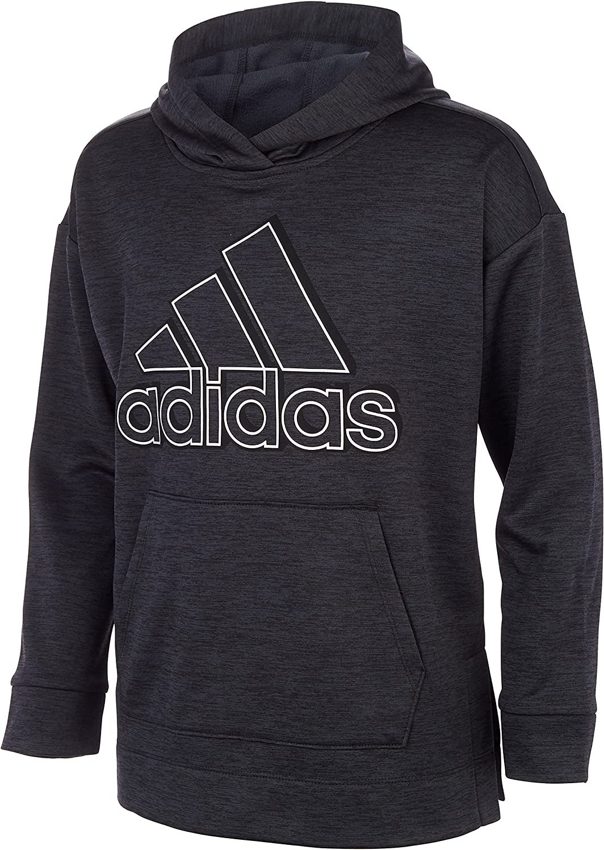 adidas girls Badge of Sport Mélange Fleece Pullover Hoodie