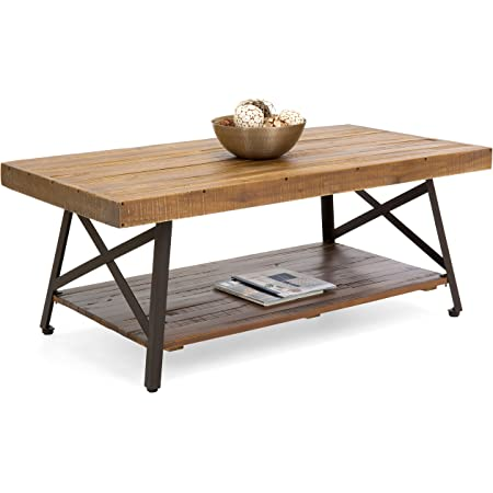 K-Living Mellow Coffee Table with Tempered Glass Top and Rubber Wood Base