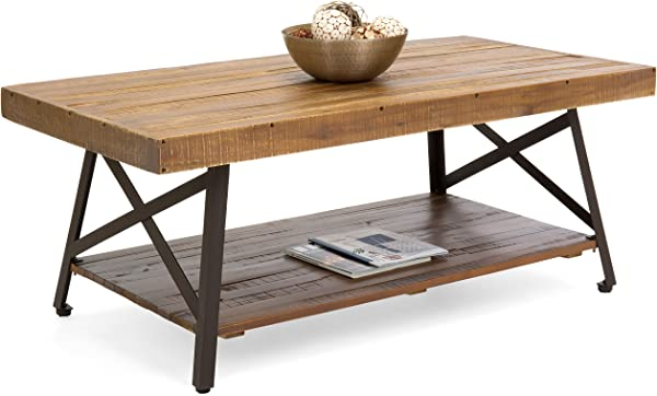 最佳选择产品客厅相思木制鸡尾酒咖啡口音桌子 W 结实的金属腿底部架子棕色