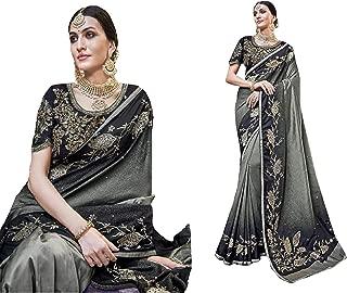 Grey Black Indian Ethnic Wedding Bridal Sari Resham DHAGA Banarasi Pure Silk Saree ZARI Women Blouse 8753