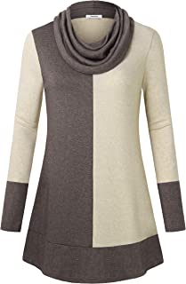 Youtalia Women's Hoodie Sweatshirt Long Sleeve Cowl Neck Pullover Color Block Thin Tunic Top