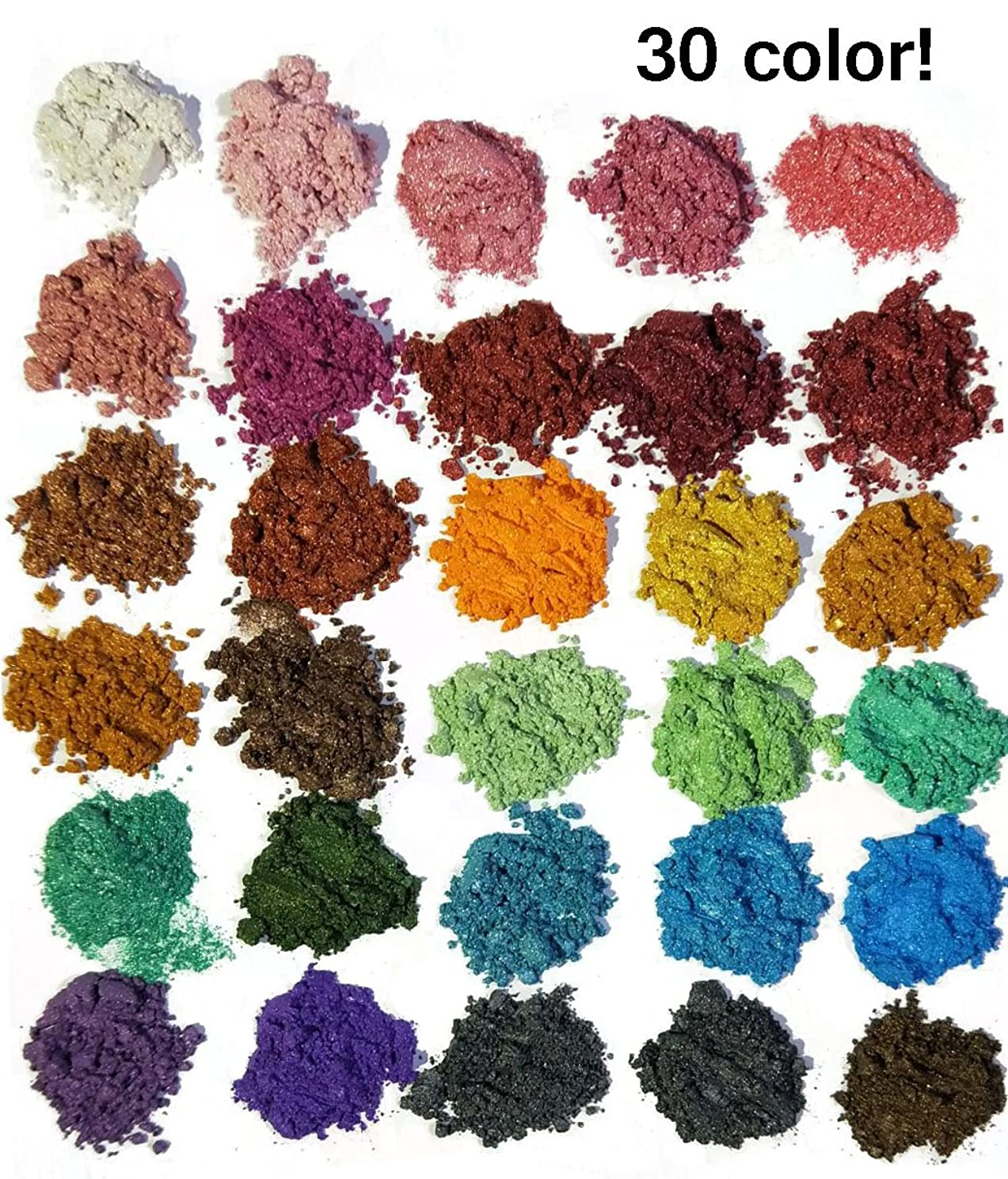 30 Color Pigments Shimmer Mica Powder - DIY Soap Making, Candle Making,Resin Dye, Mica Powder Organic for Soap Molds (5 Grams Each, 150 Grams Total)