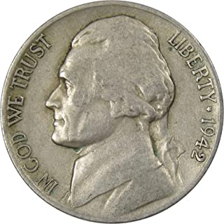 1942 D 5c Jefferson Nickel US Coin Average Circulated