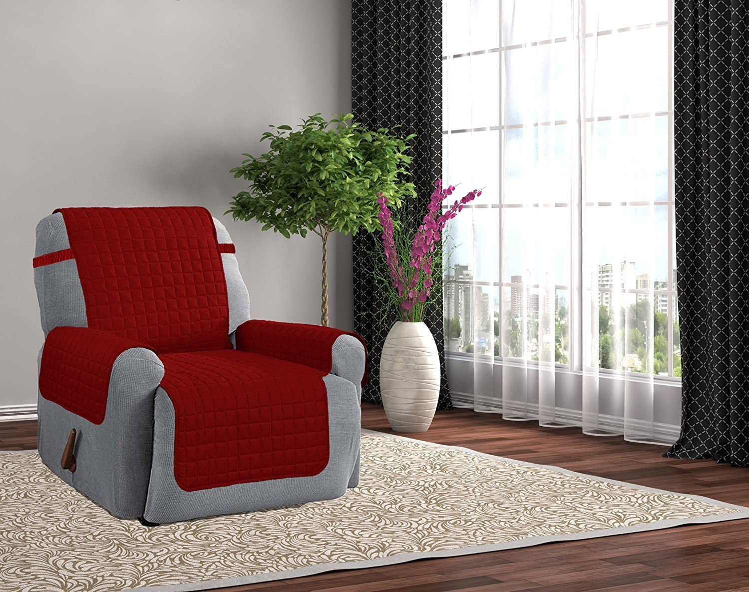 Kashi Home Microfiber Furniture Recliner Protector with 5